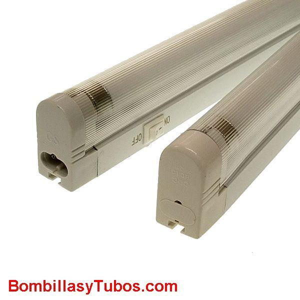 Regleta fluorescente T5  6w 27cm - Luminaria de pvc  para fluorescente  T5  6w 27cm