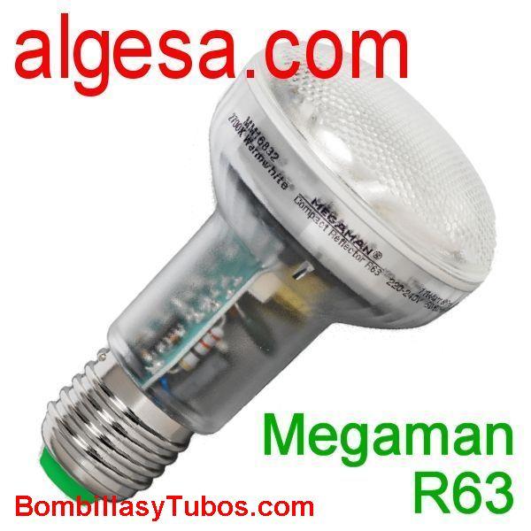 MEGAMAN R63 13w E27 4000 - MEGAMAN R63 13w 4000  base: E27  temp.color: 4000k (fria)  vida media: 15000 horas  referencia: BR1113i