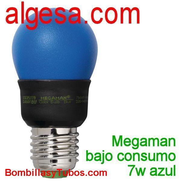 MEGAMAN ESFERICA 7w E27 AZUL - MEGAMAN ESFERICA E27 7w AZUL  230v 7w  E27  medidas: 45x89mm  vida media: 10000 horas  referencias: GA607. mm25119