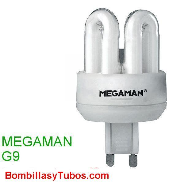 MEGAMAN G9 9W 2700K - MEGAMAN G9 9W 2700K   230V 9W G9 2700K (calida)  equivale a una bombilla de 45w  horas de vida: 15000  flujo luminoso: 440 lumenes  medidas: 37x75mm  clasificación energetica A  referencia: 4U109i