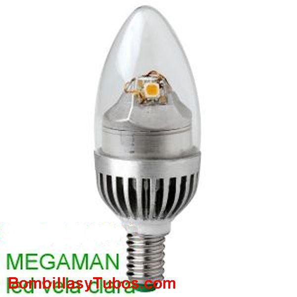 MEGAMAN LED VELA LISA CLARA 5w 2700k - BOMBILLA LED  VELA LISA  5w 2700K. (Ilumina como 25W)
