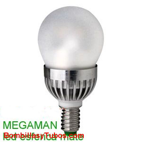 MEGAMAN LED ESFERICA E14 MATE 5w 2800k - BOMBILLA LED  ESFERICA E14  5w 2700K (ilumina como 25w)