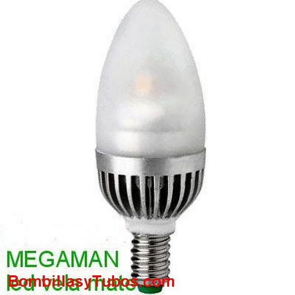 MEGAMAN LED VELA LISA MATE 5w 2700k - BOMBILLA LED VELA LISA 5w 2700K (Ilumina como 25w)