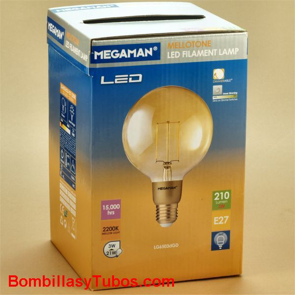 MEGAMAN Golden led Globo 125  3w 2200k - Bombilla de led Globo 125 filamento 3w 2200k 210 lumenes regulable. Extra calida
