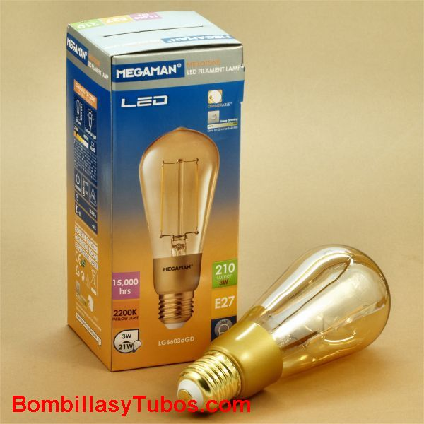 MEGAMAN Golden led Pebeton 3w 2200k - Bombilla de led Pebeton filamento 3w 2200k extra calida. 210 lumenes .Regulable