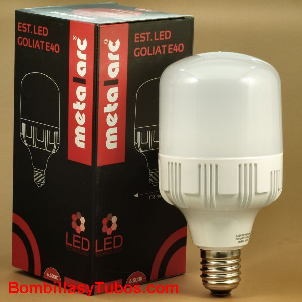 METALARC Lampara Led Goliat E27 40w 3000k - Bombilla de led Alta potencia Goliat 40w E27 3000k luz calida neutra