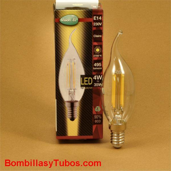 Bombilla led filamento vela clara golpe viento 4w-40w 2700k