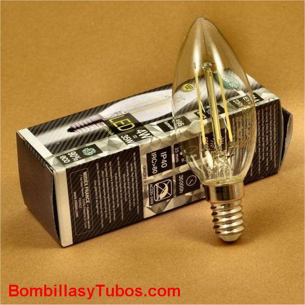 Bombilla led filamento vela clara  4w-35w 6000k