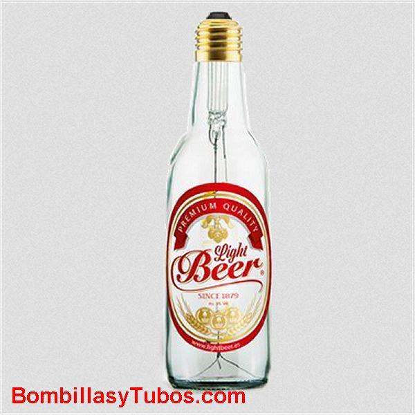 Bombilla Led Botella Cerveza 8w 2200k incolora transparente etiquetada - Bombilla led en forma botella cerveza LIGH BEEER 8w  2200k transparente incolora. Con etiqueta
