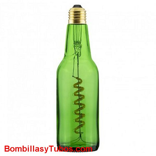 Bombilla Led Botella Cerveza 8w 2800k Verde transparente - Bombilla led en forma botella cerveza LIGH BEEER 8w  2800k Verde transparente