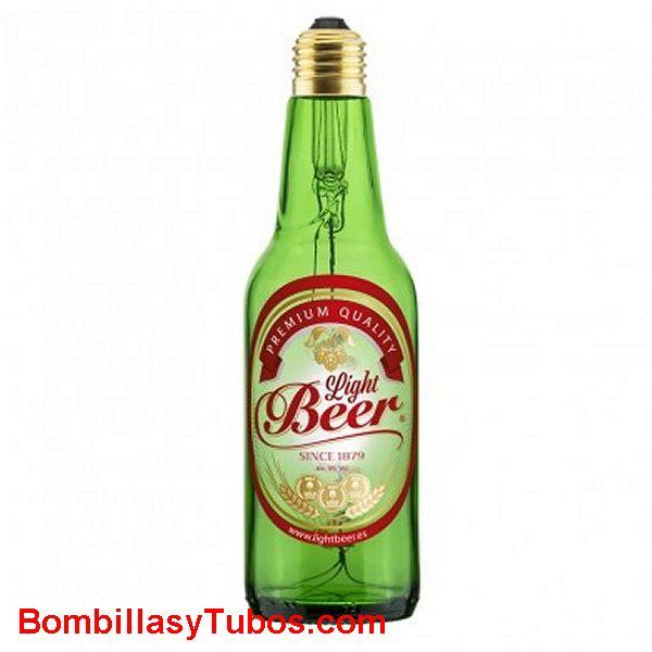 Bombilla Led Botella Cerveza 8w 2800k Verde transparente etiquetada - Bombilla led en forma botella cerveza LIGH BEEER 8w  2800k verde transparente con etiqueta