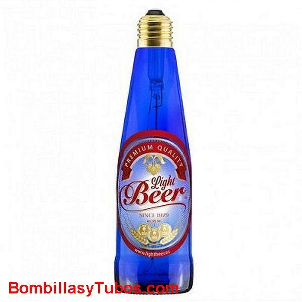 Bombilla Led Botella Cerveza 8w 4200k azul etiquetada - Bombilla led en forma botella cerveza LIGH BEEER 8w azul 4200k etiquetada