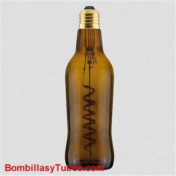 Bombilla Led Botella Cerveza 8w 1800k marron transparente - Bombilla led en forma botella cerveza LIGH BEEER 8w  1800k Marron transparente