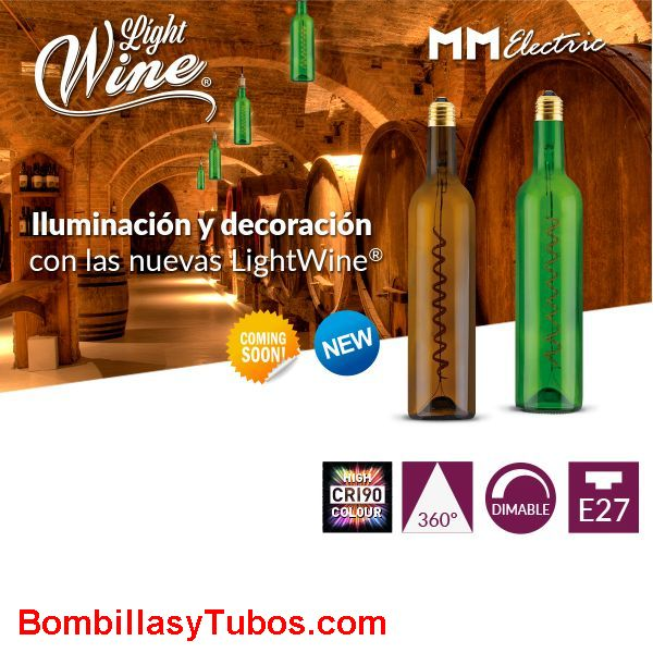 Bombilla Led Botella Vino  12w 1800k Marron transparente - Bombilla led en forma botella de vino color Marron transpararente 12w y 250 lumenes.