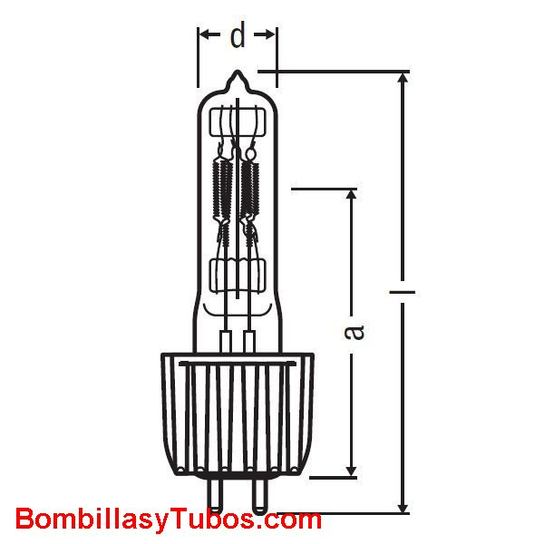 Osram HPL 575w 230v 2pin - HSR 1200W/60  potencia:1200w  base: G22/28X50