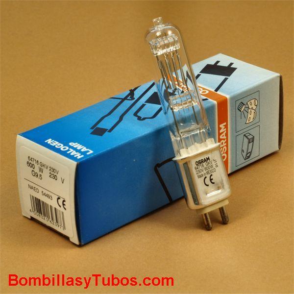 Lampara OSRAM 64716 230v 600w G9.5 - Bombilla halogena OSRAM 64716 230v 600w G9.5