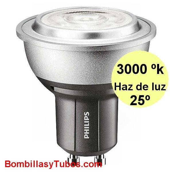 PHILIPS MASTER LEDSPOT   5.4-50W GU10 25° 3000K - PHILIPS MASTER LEDSPOT MV 5.4-50W GU10 25° 3000K luz calida neutra