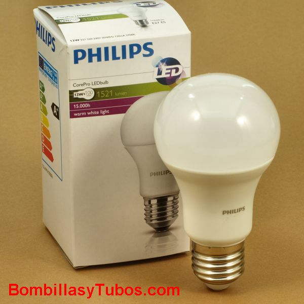 PHILIPS Corepro led  13w-100w E27 2700k - Philips Corepro led 13.5w-100w E27 2700k  Lampara de led Philips de forma clasica