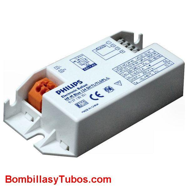 Philips HF-M 124 SH AZUL - BALASTO HF-MATCHBOX  AZUL  HF-M 124 SH AZUL   Para tubo 15/18w. t5 22/24w  Para lampara pl-l, dulux-l 18/24w  Medidas: 80x40x22mm  codigo:53638930  recomendado para instalaciones con  menos de 3 encendidos diarios