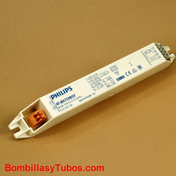 HF-M 124 LH AZUL - BALASTO HF-MATCHBOX AZUL  HF-M 124 LH AZUL  Para tubo t5 21w  medidas: 187x22x22mm  Codigo: 53640230  recomendado para instalaciones con  menos de 3 encendidos diarios