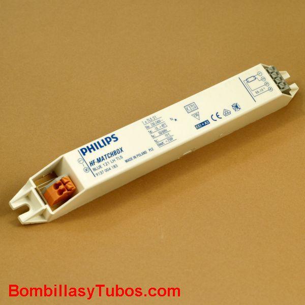 Philips HF-M 121 LH AZUL - BALASTO HF-MATCHBOX AZUL  HF-M 121 LH AZUL  Para tubo t5 21w  medidas: 187x22x22mm  Codigo: 53646430  recomendado para instalaciones con  menos de 3 encendidos diarios