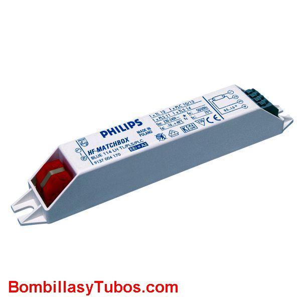 Philips HF-M 114 LH AZUL - BALASTO HF-MATCHBOX AZUL  HF-M 114 LH AZUL  Para tubo 13/14w  Para lampara pl-s. dulux-s 11w  Para lampara pl-c, dulux-d 10/13w  medidas: 144x22x22mm  Codigo: 53682230  recomendado para instalaciones con  menos de 3 encendi