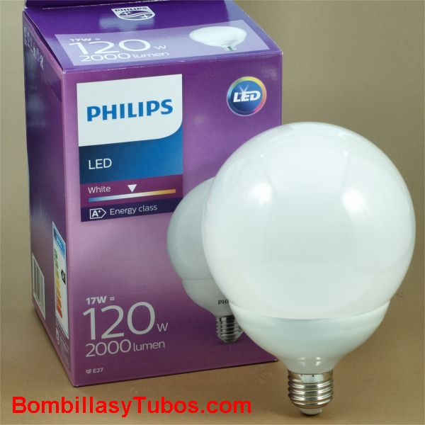 Bombilla Led Philips Globo 17w-120w 2000 lum. 2700k - Lampara Led Philips Globo 125mm 17w-120w 2700k luz calida. 2000 lumenes