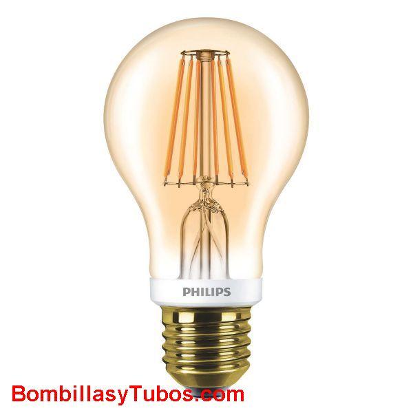 Philips Ledbulb clasica Gold 7.5-48w 820 - Lampara Philips Led lasica filamento 7.5-48w oro 2000k
