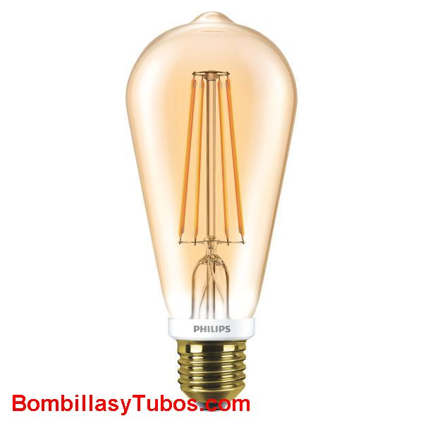 Philips Ledbulb Clasica Gold 230v 7-50w Gold - Lampara Led Philips St64 filamentos 230v 7-50w Gold