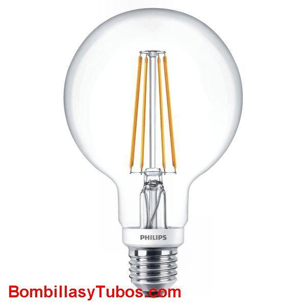Philips Ledbulb clásica Globo 95 230v 7w-60w 827 - Lampara led Globo 95 230v 7-60w 2700k 806 lumenes