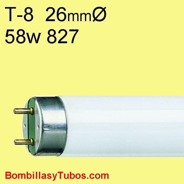 FLUORESCENTE T8 58w/827 - MASTER TL-D 58w/827  temp.color: 2700k (calida) referencias:lumilux t8 fh. fh  he, master tl 8 he, luxline t8, bonalux t8