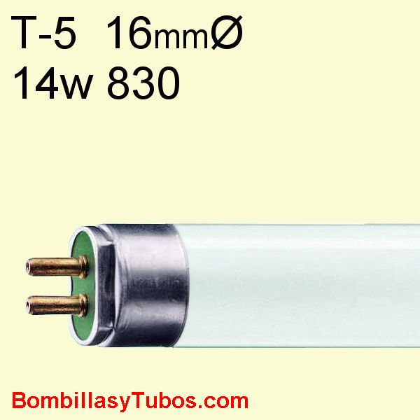 FLUORESCENTE T5 14w/830 55cm 3000k - LAMPARA FLUORESCENTE  T5 14w/830 55cm 3000k calido neutro