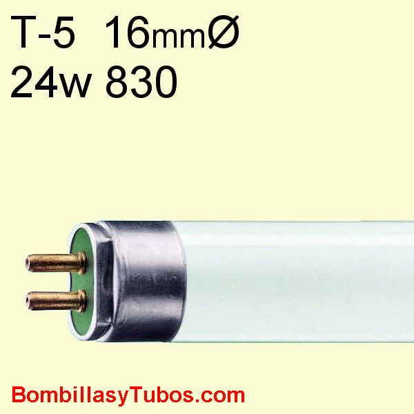 FLUORESCENTE T5 24w/830 55cm 3000k - Fluorescente T5 HO 24w/830  55cm 3000k calido neutro