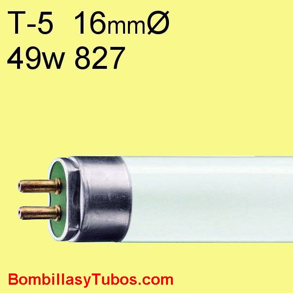 FLUORESCENTE T5 49w/827 - MASTER TL5 HO 49w/827  temp color: 2700k (calido)  flujo luminoso: 4300 lumenes  base g5   medidas: 16x1449 mm  referencias:lumilux t5 he.fh he, master tl5 he, luxline t5, bonalux t5   codigo: 64312455, 643124xx