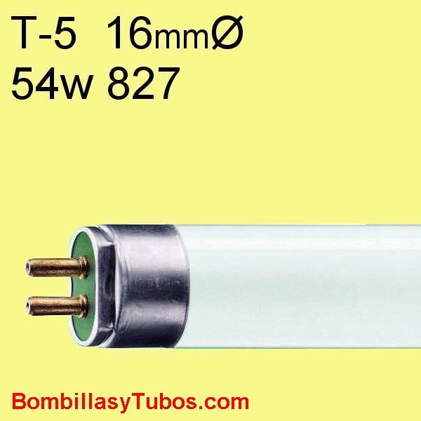 FLUORESCENTE T5 54w/827 - MASTER TL5 HO 54w/827  temp color: 2700k (calido)  flujo luminoso: 4450 lumenes  base g5   medidas: 16x1149 mm  referencias:lumilux t5 he.fh he, master tl5 he, luxline t5, bonalux t5   codigo: 64314855, 643148XX