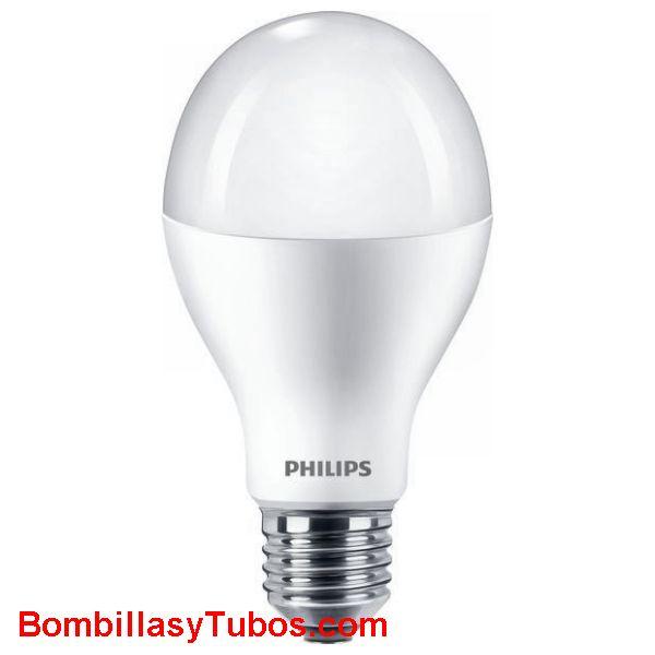Bombilla Led Philips A67 17w-120w 2000 lumenes 2700k calida - Lampara de Led Philips formato A67 con casquillo de rosca. 17w de consumo equivalente a una bombilla de 120w. 2000 lumenes y 2700k luz calida