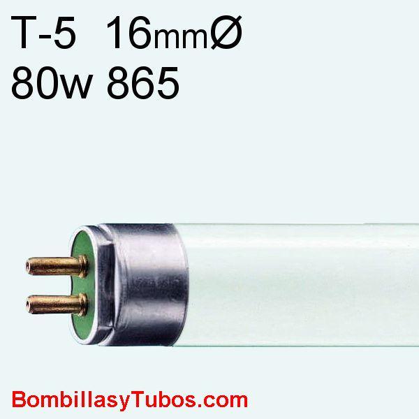 FLUORESCENTE T5 80w/865 - MASTER TL5 HO 80w/840  temp color: 6500k (luz dia)  flujo luminoso: 5850 lumenes  base g5   medidas: 16x1449 mm  referencias:lumilux t5 he.fh he, master tl5 he, luxline t5, bonalux t5   codigo: 71047555, 710475XX