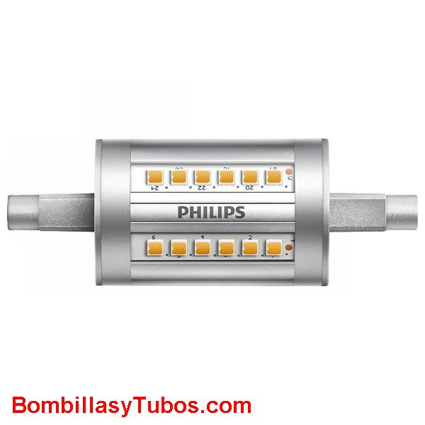 Bombilla led philips Lineal corta 7,5w-60 3000k - Lampara Philips Led R7s 80mm 7,5w-60w 3000k 1500 lumenes
