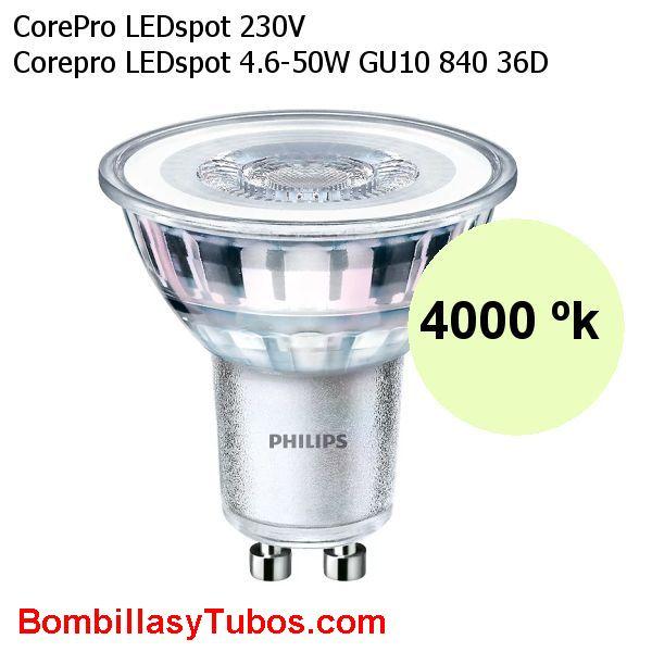 Bombilla Philips gu10 4.6-50w 840 36° 390 lumenes - Lampara led Gu10 4.6w-50w 36 grados 4000k blanco frio neutro ledspot 390 lumenes