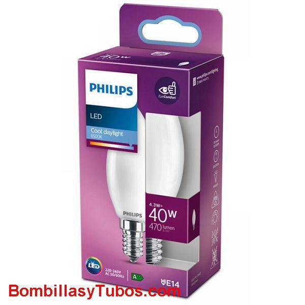 Philips bombilla led vela E14  4,3w-40w 470 lumen 6500k