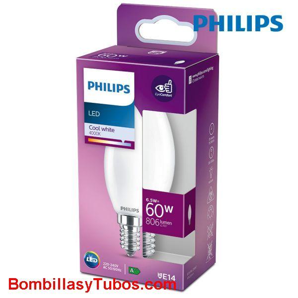 Philips bombilla led vela E14 6,5w-60w 806 lumen 4000k