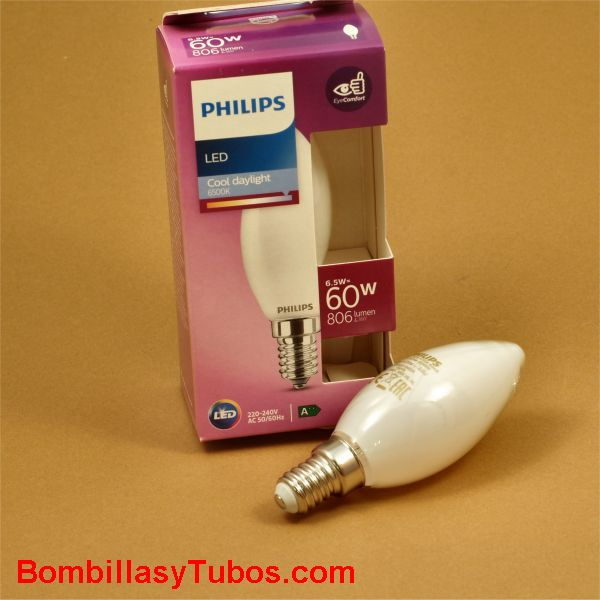 Philips bombilla led vela E14 6,5w-60w 806 lumen 6500k