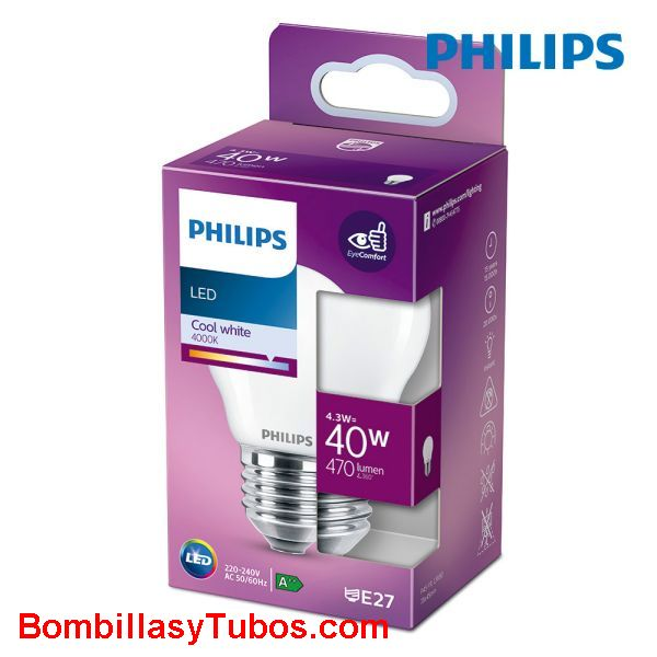 Philips bombilla led esferica E27 4,3w-40w 470 lumen 4000k