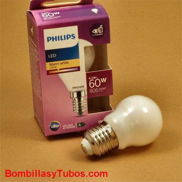 Philips bombilla led esferica E27 6,5w-60w 806 lumen 2700k