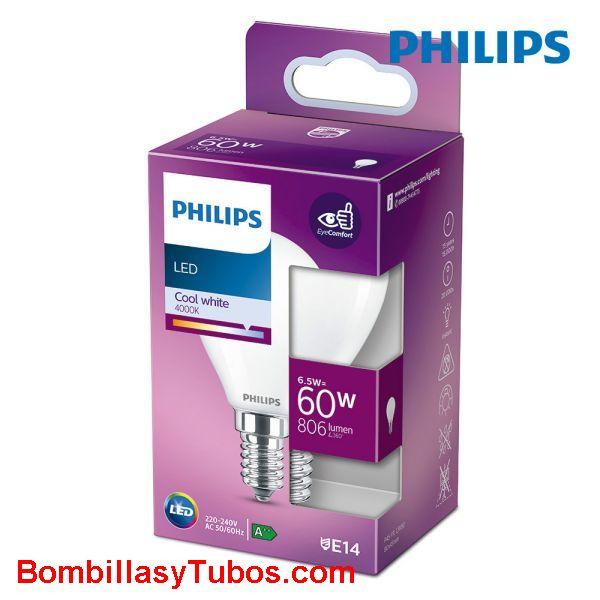 Philips bombilla led esferica e14 6,5w-60w 806 lumen 4000k