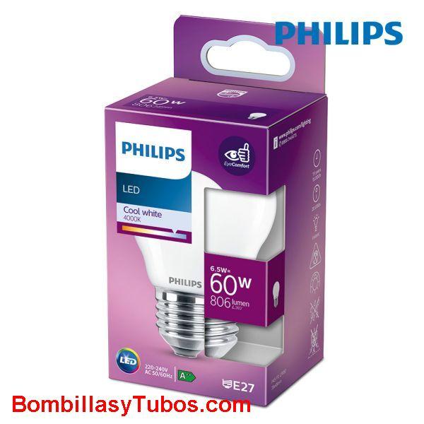 Philips bombilla led esferica e27 6,5w-60w 806 lumen 4000k
