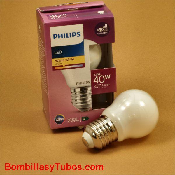 Philips bombilla led esferica E27 4,3w-40w 470 lumen 2700k