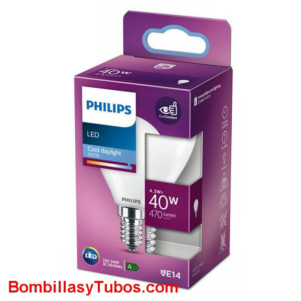 Philips bombilla led esferica E14 4,3w-40w 470 lumen 6500k