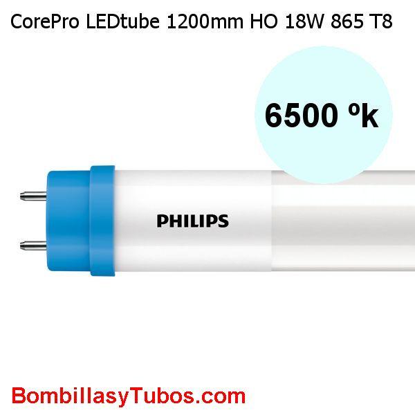 Philips T8 Led 120cm Alto flujo 18w 2000 lumenes 6500k. Reemplazo 36w - Tubo philips led Corepro HO alto flujo T8 120cm 18w 6500k 2000 lumenes para sustitucion del fluorescentes de 36w.