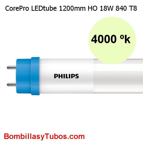 Philips T8 Led 120cm Alto flujo 18w 2000 lumenes 4000k. Reemplazo 36w